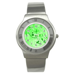 Floral Green Stainless Steel Watch (Slim)