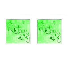 Floral Green Cufflinks (Square)