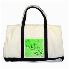 Floral Green Two Toned Tote Bag