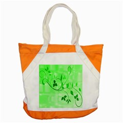 Floral Green Accent Tote Bag