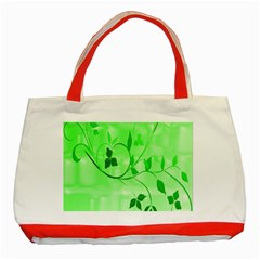 Floral Green Classic Tote Bag (Red)