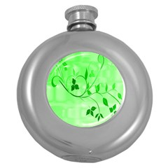 Floral Green Hip Flask (round)