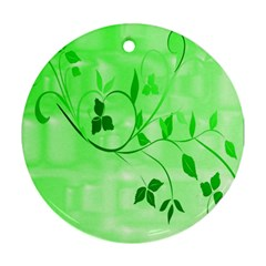 Floral Green Round Ornament (two Sides)
