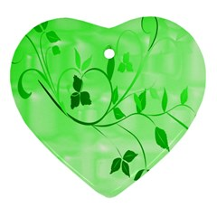 Floral Green Heart Ornament (Two Sides)