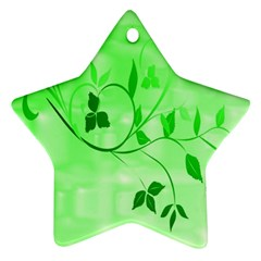Floral Green Star Ornament (Two Sides)