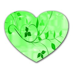 Floral Green Mouse Pad (Heart)