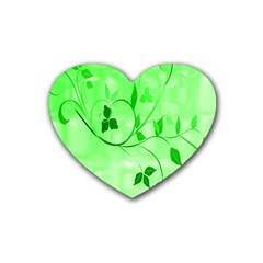 Floral Green Drink Coasters 4 Pack (Heart)