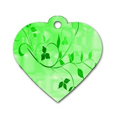 Floral Green Dog Tag Heart (one Sided)