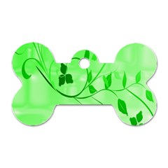 Floral Green Dog Tag Bone (Two Sided)