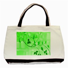 Floral Green Twin Sided Black Tote Bag