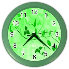 Floral Green Wall Clock (Color)