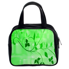 Floral Green Classic Handbag (Two Sides)