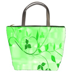 Floral Green Bucket Handbag