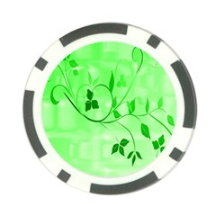 Floral Green Poker Chip (10 Pack)
