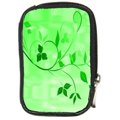 Floral Green Compact Camera Leather Case