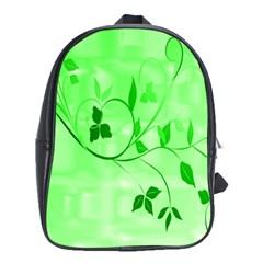 Floral Green School Bag (Large)