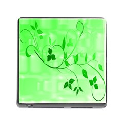 Floral Green Memory Card Reader with Storage (Square)
