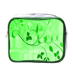 Floral Green Mini Travel Toiletry Bag (one Side)