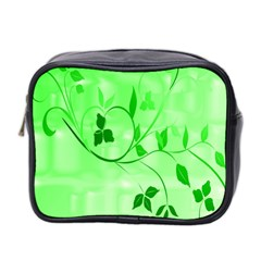 Floral Green Mini Travel Toiletry Bag (Two Sides)