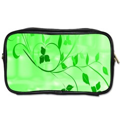 Floral Green Travel Toiletry Bag (Two Sides)