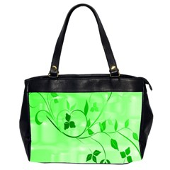 Floral Green Oversize Office Handbag (Two Sides)