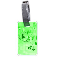 Floral Green Luggage Tag (One Side)