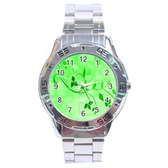 Floral Green Stainless Steel Watch