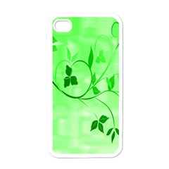 Floral Green Apple Iphone 4 Case (white)