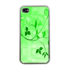 Floral Green Apple iPhone 4 Case (Clear)