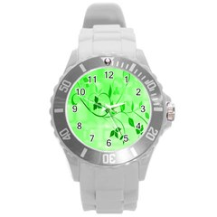 Floral Green Plastic Sport Watch (Large)