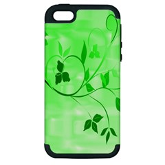 Floral Green Apple Iphone 5 Hardshell Case (pc+silicone)