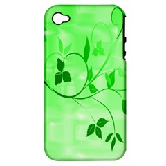 Floral Green Apple iPhone 4/4S Hardshell Case (PC+Silicone)