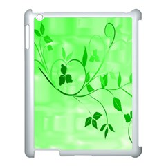 Floral Green Apple iPad 3/4 Case (White)