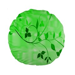 Floral Green 15  Premium Round Cushion
