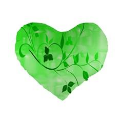 Floral Green 16  Premium Heart Shape Cushion