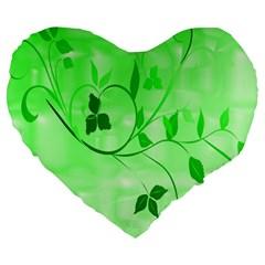 Floral Green 19  Premium Heart Shape Cushion