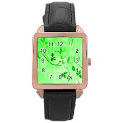 Floral Green Rose Gold Leather Watch