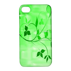 Floral Green Apple Iphone 4/4s Hardshell Case With Stand