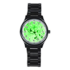 Floral Green Sport Metal Watch (black)