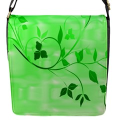 Floral Green Flap Closure Messenger Bag (Small)