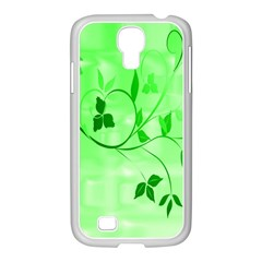 Floral Green Samsung Galaxy S4 I9500/ I9505 Case (white)