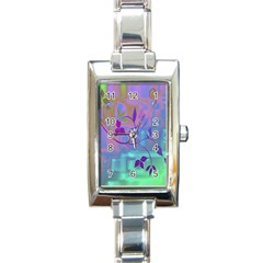 Floral Multicolor Rectangular Italian Charm Watch