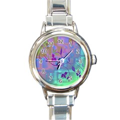 Floral Multicolor Round Italian Charm Watch