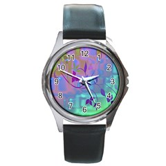 Floral Multicolor Round Leather Watch (Silver Rim)