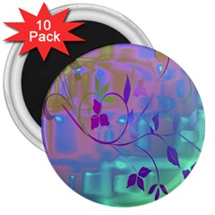 Floral Multicolor 3  Button Magnet (10 pack)