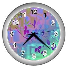 Floral Multicolor Wall Clock (silver)