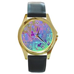 Floral Multicolor Round Leather Watch (Gold Rim)