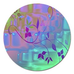 Floral Multicolor Magnet 5  (Round)