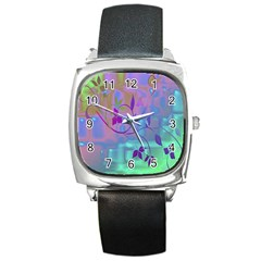Floral Multicolor Square Leather Watch