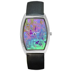 Floral Multicolor Tonneau Leather Watch
